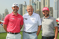 Paul Waring (ENG), Colin Montgomerie (SCO) and Andy Sullivan (ENG) pose for a photograph prior to the second round of the Omega Dubai Desert Classic, Emirates Golf Club, Dubai, UAE. 25/01/2019<br />