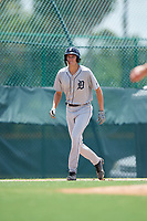 GCL Tigers West center fielder Parker Meadows (14) leads off third base during a game against the GCL Pirates on August 13, 2018 at Pirate City Complex in Bradenton, Florida.  GCL Tigers West defeated GCL Pirates 5-1.  (Mike Janes/Four Seam Images)