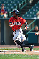 Indianapolis Indians outfielder Keon Broxton (24) breaks his bat during a game against the Rochester Red Wings on June 10, 2015 at Frontier Field in Rochester, New York.  Indianapolis defeated Rochester 5-3.  (Mike Janes/Four Seam Images)