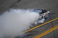 Oct. 31, 2009; Talladega, AL, USA; NASCAR Camping World Truck Series driver Robert Richardson Jr. blows an engine during the Mountain Dew 250 at the Talladega Superspeedway. Mandatory Credit: Mark J. Rebilas-