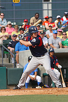 Left fielder Jason Place of the Salem Red Sox hitting during a game against  the Myrtle Beach Pelicans on May 3, 2009