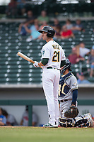 Mesa Solar Sox designated hitter Eli White (21), of the Oakland Athletics organization, at bat during an Arizona Fall League game against the Peoria Javelinas at Sloan Park on October 11, 2018 in Mesa, Arizona. Mesa defeated Peoria 10-9. (Zachary Lucy/Four Seam Images)