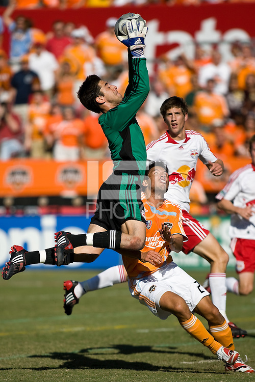 New York Red Bulls goalkeeper Danny Cepero (1) makes the save over Houston Dynamo forward Brian Ching (25).  New York Red Bulls defeated Houston Dynamo 3-0 for an aggregate  score of 4-1 over Houston Dynamo   at Robertson Stadium in Houston, TX on November 9, 2008 in the second leg of the Western Conference semifinals.  Photo by Wendy Larsen/isiphotos.com