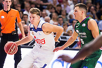 Real Madrid's player Luka Doncic and Unicaja Malaga's player Nemanja Nedovic during match of Liga Endesa at Barclaycard Center in Madrid. September 30, Spain. 2016. (ALTERPHOTOS/BorjaB.Hojas) /NORTEPHOTO