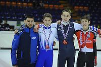 SHORTTRACK: HEERENVEEN: IJsstadion Thialf, 30-01-2015, StarClass 5 (NC-2) Europa Cup, Jeugdwedstrijd (t/m 16 jaar), Podium Boys Junior C 500m, Sjinkie Knegt (European Champion), Bram STEENAART (#137), Nathan JANSEN (#140), Pietro MARINELLI (#106   ITA), ©foto Martin de Jong