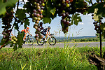 The breakaway ride through the vineyards of Barolo during the 104th edition of GranPiemonte 2020, running 187km from Santo Stefano Belbo to Barolo, Italy. 12th August 2020.<br /> Picture: LaPresse/Marco Alpozzi | Cyclefile<br /> <br /> All photos usage must carry mandatory copyright credit (© Cyclefile | LaPresse/Marco Alpozzi)