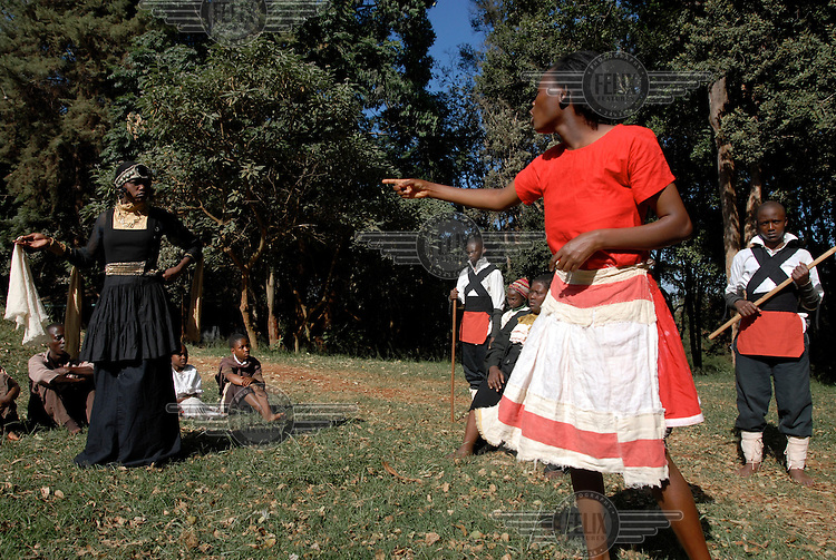 17 year old Rachel (right) taking part in a production with the Italian theatre director Letizia Quintavalla and the Malkia Theatre Group, a group of street children from the Dagoretti area of Nairobi. The project, called Children in Need, is funded by the NGO AMREF. They are preparing a Brecht play which will be performed in both Italy and Nairobi.