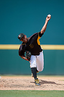 Bradenton Marauders relief pitcher Ronny Agustin (45) delivers a pitch during a game against the Charlotte Stone Crabs on June 3, 2018 at LECOM Park in Bradenton, Florida.  Charlotte defeated Bradenton 10-1.  (Mike Janes/Four Seam Images)