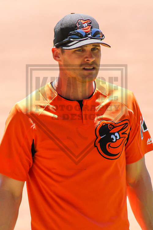 Baltimore Orioles outfielder Craig Gentry (14) during a Major League Baseball game against the Milwaukee Brewers on July 3, 2017 at Miller Park in Milwaukee, Wisconsin.  Milwaukee defeated Baltimore 8-1. (Brad Krause/Krause Sports Photography)