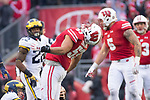 Wisconsin Badgers linebacker T.J. Edwards (53) celebrates  during an NCAA College Big Ten Conference football game against the Michigan Wolverines Saturday, November 18, 2017, in Madison, Wis. The Badgers won 24-10. (Photo by David Stluka)
