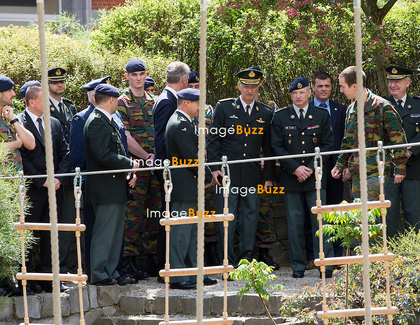 King Philippe  of Belgium visits the Royal Military Academy in Brussels, his former school.<br /> Belgium, Brussels, May 15, 2014.<br /> Le roi Philippe de Belgique visite l'&eacute;cole Royale Militaire &agrave; Bruxelles.<br /> Belgique, Bruxelles, 15 mai 2014.