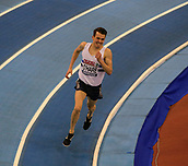 10th February 2019, Arena Birmingham, Birmingham, England; Spar British Athletics Indoor Championships; Chris O'Hare on his way to the gold medal in the men's 3000m final during Day Two of the Spar Indoor Athletics Championships at Birmingham Arena