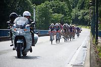 Gaetan Bille (BEL/Wanty-Groupe Gobert) &amp; Dimitri Claeys (BEL/Wanty-Groupe Gobert) in front of a chasing peloton<br /> <br /> Belgian National Road Cycling Championships 2016<br /> Les Lacs de l'Eau d'Heure