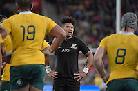 All Blacks' Ardie Savea in action during the All Blacks v Wallabies. The Rugby Championship &amp; Bledisloe Cup at Westpac Stadium, Wellington, New Zealand on Saturday 27 August 2016.<br /> Photo by Masanori Udagawa. <br /> www.photowellington.photoshelter.com.