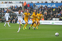 Swansea City's Oli McBurnie misses a penalty during the Sky Bet Championship match between Swansea City and Preston North End at the Liberty Stadium, Swansea, Wales, UK. Saturday 11 August 11 2018
