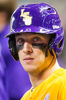 LSU Tigers shortstop Alex Bregman (8) waits in the dugout during the Houston College Classic against the Nebraska Cornhuskers on March 8, 2015 at Minute Maid Park in Houston, Texas. LSU defeated Nebraska 4-2. (Andrew Woolley/Four Seam Images)