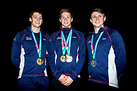 Picture by Rogan Thomson/SWpix.com - 30/07/2017 - Swimming - Fina World Championships 2017 - Budapest, Hungary - Great Britain's Scottish medallists, Stephen Milne, Duncan Scott and Ross Murdoch, pose for a photo outside the team hotel after the final day of competition.