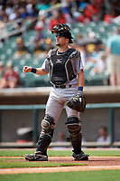 Pensacola Blue Wahoos catcher Chris Okey (5) during a game against the Birmingham Barons on May 9, 2018 at Regions Field in Birmingham, Alabama.  Birmingham defeated Pensacola 16-3.  (Mike Janes/Four Seam Images)