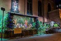 New York, NY - Christmas Crib outside St Anthony of Padua Catholic Church.