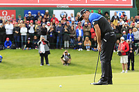 Scott Hend (AUS) takes his putt on the 18th green on the 2nd playoff hole during Sunday's Final Round of the 2017 Omega European Masters held at Golf Club Crans-Sur-Sierre, Crans Montana, Switzerland. 10th September 2017.<br /> Picture: Eoin Clarke | Golffile<br /> <br /> <br /> All photos usage must carry mandatory copyright credit (&copy; Golffile | Eoin Clarke)