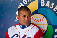 15 March 2009: #24 Frederich Cepeda of Cuba is seen in the dugout prior to the 2009 World Baseball Classic Pool 1 game 1 at Petco Park in San Diego, California, USA. Japan wins 6-0 over Cuba.