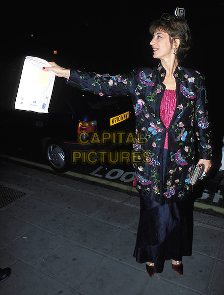 MAUREEN LIPMAN.Thoroughly Modern Millie London premiere & press night & afterparty at the Waldorf Hotel.full length, full-length, embroidered jacket, butterfly print, clutch bag, pointing.www.capitalpictures.com.sales@capitalpictures.com.© Capital Pictures.