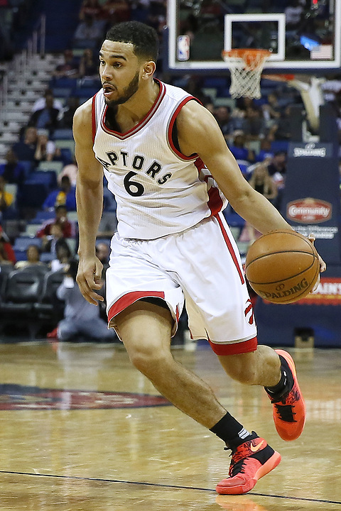 NEW ORLEANS, LA - MARCH 26:  Cory Joseph #6 of the Toronto Raptors drives with the ball during a game at the Smoothie King Center on March 26, 2016 in New Orleans, Louisiana. NOTE TO USER: User expressly acknowledges and agrees that, by downloading and or using this photograph, User is consenting to the terms and conditions of the Getty Images License Agreement.  (Photo by Jonathan Bachman/Getty Images)