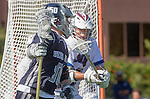 Los Angeles, CA 03/12/16 - Dakota Bird (Utah State #50) and unidentified LMU player(s) in action during the Utah State vs Loyola Marymount MCLA Men's Division I game at Leavey Field at LMU.  Utah State defeated LMU 17-4.