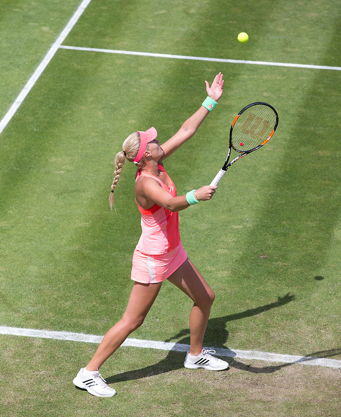 Kristina Mladenovic (FRA) in action during her victory over [1] Simona Halep (ROU) in their Women&rsquo;s Singles Quarter Final match today[1] Simona Halep (ROU) - Kristina Mladenovic (FRA) def [1] Simona Halep (ROU) 2-6 6-0 7-6(4)<br /> <br /> Photographer Stephen White/CameraSport<br /> <br /> Tennis - WTA International - Aegon  Classic - Day 5 - Friday 19th June 2015 - Edgbaston Priory Club - Birmingham<br /> <br /> &copy; CameraSport - 43 Linden Ave. Countesthorpe. Leicester. England. LE8 5PG - Tel: +44 (0) 116 277 4147 - admin@camerasport.com - www.camerasport.com