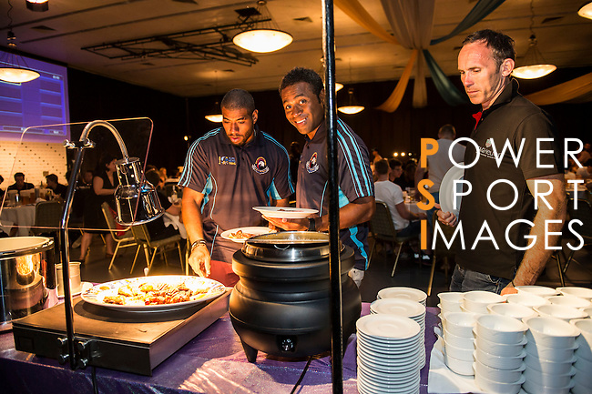 Players attend the dinner after day 2 of the 2014 GFI HKFC Tens at the Hong Kong Football Club on 27 March 2014. Photo by Xaume Olleros / Power Sport Images