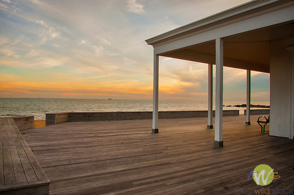 Long Island Sound. Middle Beach Road, Madison, CT. Surf Club deck and porch.