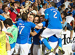 St Johnstone v FC Luzern...24.07.14  Europa League 2nd Round Qualifier<br /> The players celebrate with the fans<br /> Picture by Graeme Hart.<br /> Copyright Perthshire Picture Agency<br /> Tel: 01738 623350  Mobile: 07990 594431