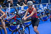 June 11th 2017, Leeds, Yorkshire, England; ITU World Triathlon Leeds 2017; Flora Duffy runs with her bike