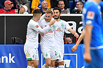 11.05.2019, PreZero Dual Arena, Sinsheim, GER, 1. FBL, TSG 1899 Hoffenheim vs. SV Werder Bremen, <br /> <br /> DFL REGULATIONS PROHIBIT ANY USE OF PHOTOGRAPHS AS IMAGE SEQUENCES AND/OR QUASI-VIDEO.<br /> <br /> im Bild: Johannes Eggestein (SV Werder Bremen #24) jubelt ueber sein Tor zum 1:0 mit Milot Rashica (SV Werder Bremen #11) und Nuri Sahin (SV Werder Bremen #17)<br /> <br /> Foto &copy; nordphoto / Fabisch