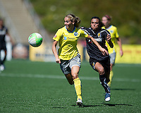Heather Mitts chases down the ball.during the FC Gold Pride's victory over the Philadelphia Independence 4-0, to capture the 2010 WPS Championships in Hayward, Calif., Sunday, September 26, 2010.
