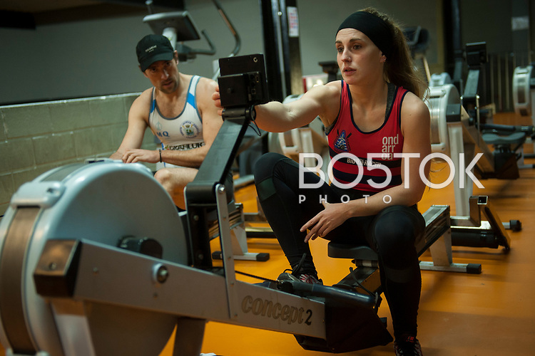 Female rowers on San Juan rower Club on a workout session in the club's gym. Pasaia (Basque Country). January 11, 2017. (Gari Garaialde / BostokPhoto)