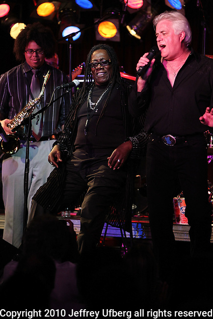 """August 4, 2010 New York: Singer / Musician Steve Smith & The Nakeds featuring Clarence Clemons perform """"BB King's Blues Club"""" on August 4, 2010 in New York City."""