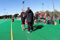 STANFORD, CA - November 4, 2011: Assistant Coach Patrick Cota and Assistant Coach Steve Danielson before the Stanford vs. Davidson in the second round of  the  NorPac Championship at the Varsity Turf on the Stanford campus Friday afternoon.<br /> <br /> Stanford defeated Davidson 7-2.
