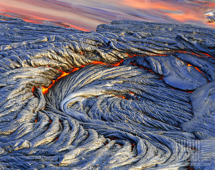 Pahoehoe lava flow from Kilauea Volcano, Big Island of Hawaii