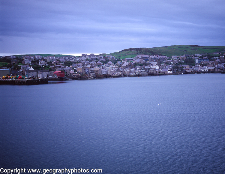 AWY7A2 Stromness from ferry early morning Orkney Islands Scotland UK