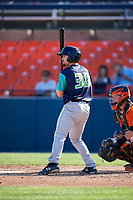 Lynchburg Hillcats second baseman Dillon Persinger (38) at bat during the first game of a doubleheader against the Frederick Keys on June 12, 2018 at Nymeo Field at Harry Grove Stadium in Frederick, Maryland.  Frederick defeated Lynchburg 2-1.  (Mike Janes/Four Seam Images)