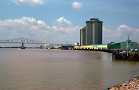 New Orleans:  Looking up river from levee opposite Jackson Square.