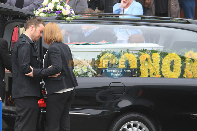 The Funeral of 4 year old conor McDaid at St Marys Church in Drogheda. Mother Mary McDaid and Partner..Picture Fran Caffrey www.newsfile.ie