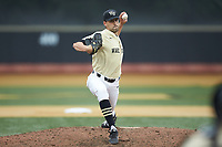 Wake Forest Demon Deacons relief pitcher Tyler Witt (12) delivers a pitch to the plate against the Miami Hurricanes at David F. Couch Ballpark on May 11, 2019 in  Winston-Salem, North Carolina. The Hurricanes defeated the Demon Deacons 8-4. (Brian Westerholt/Four Seam Images)