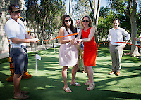Occidental College officially opened its new 2,500 square-foot golf practice facility and putting green with a ribbon cutting ceremony on Saturday, April 18, 2015.<br />