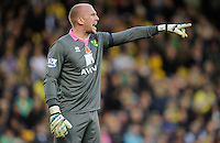 Norwich City Goalkeeper John Ruddy during the Barclays Premier League match between Norwich City and Swansea City played at Carrow Road, Norwich on November 7th 2015