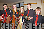 The Instrumental group from Crotta O'Neills who took part in the Scór na nÓg Finals in Foilmore on Sunday were l-r; Eamon Shanahan, Aoife Mahony, Eimear Quinlan, Barry Mahony & Páraic Shanahan.