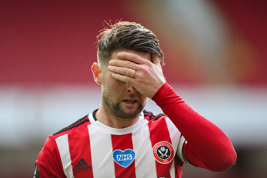 Sheffield United's Oliver Norwood reacts<br /> <br /> Photographer Alex Dodd/CameraSport<br /> <br /> The Premier League - Sheffield United v Chelsea - Saturday 11th July 2020 - Bramall Lane - Sheffield<br /> <br /> World Copyright © 2020 CameraSport. All rights reserved. 43 Linden Ave. Countesthorpe. Leicester. England. LE8 5PG - Tel: +44 (0) 116 277 4147 - admin@camerasport.com - www.camerasport.com