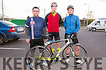 Jonathan Noonan, Raymond Griffin and Brendan Fitzgerald (Lispole) at the start of the King of the Pass 5 mile cycle trial in Dingle on Friday evening.