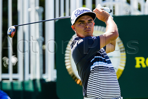 28.08.2015. Edison, NJ, USA.  Rickie Fowler tees off at 10 during the second round of The Barclays at Plainfield Country Club in Edison, NJ.